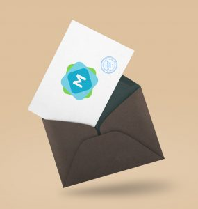 Floating Envelope & Postcard Mockup