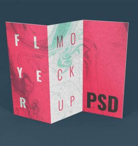 Floating Tri-Fold Brochure Mockup