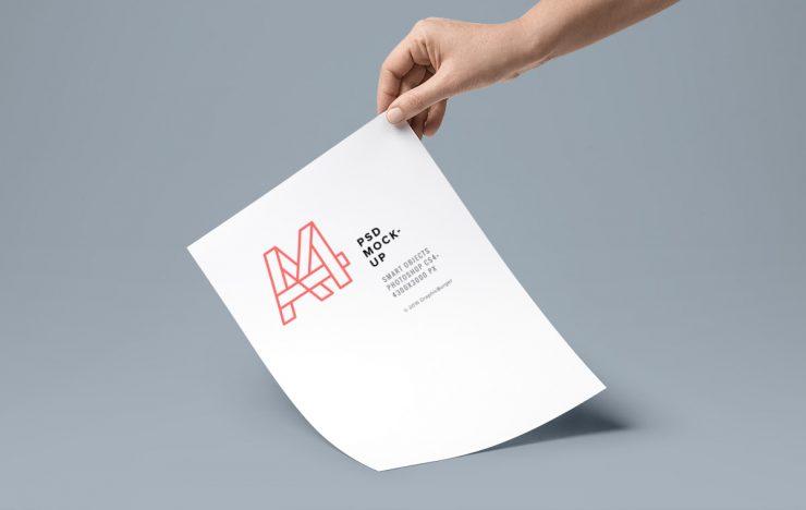 Hand Holding A4 Flyer Mockup Mockup Templates