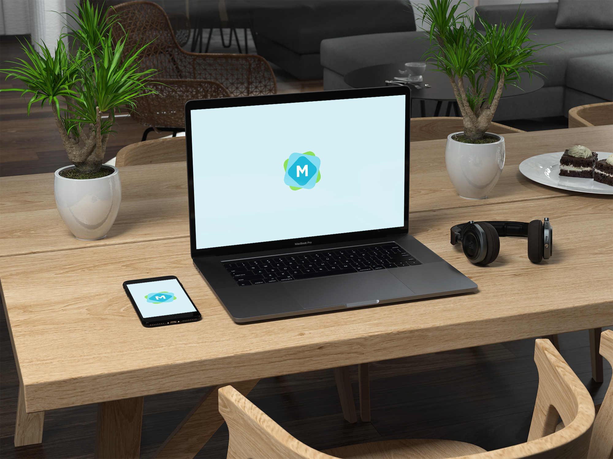 Macbook And Iphone On Table Mockup Mockup Templates