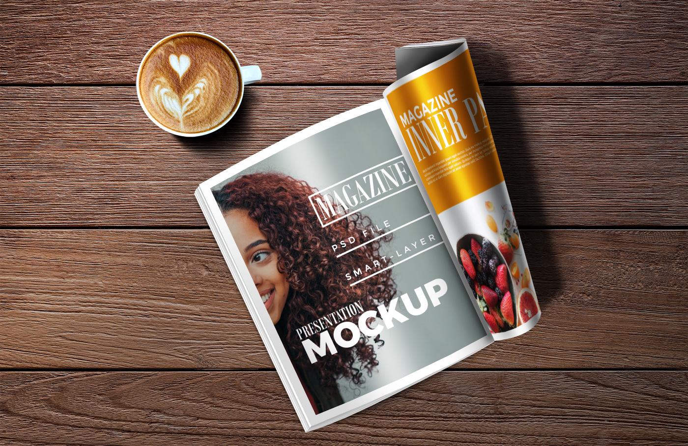 Magazine Amp Coffee Mockup Mockup Templates