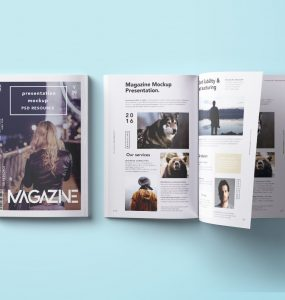 Top-Down Magazine Mockup PSD