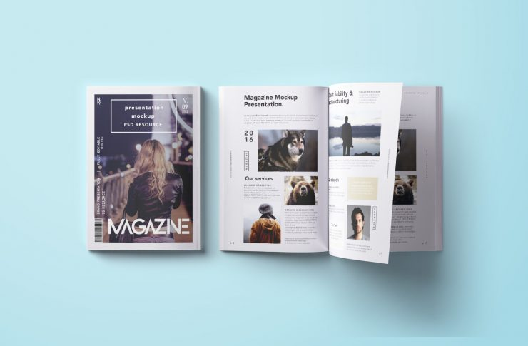 Top-Down Magazine Mockup PSD