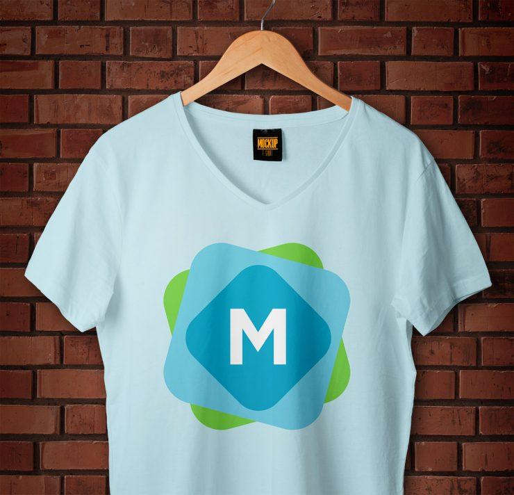 V-Neck T-Shirt & Hanger Mockup