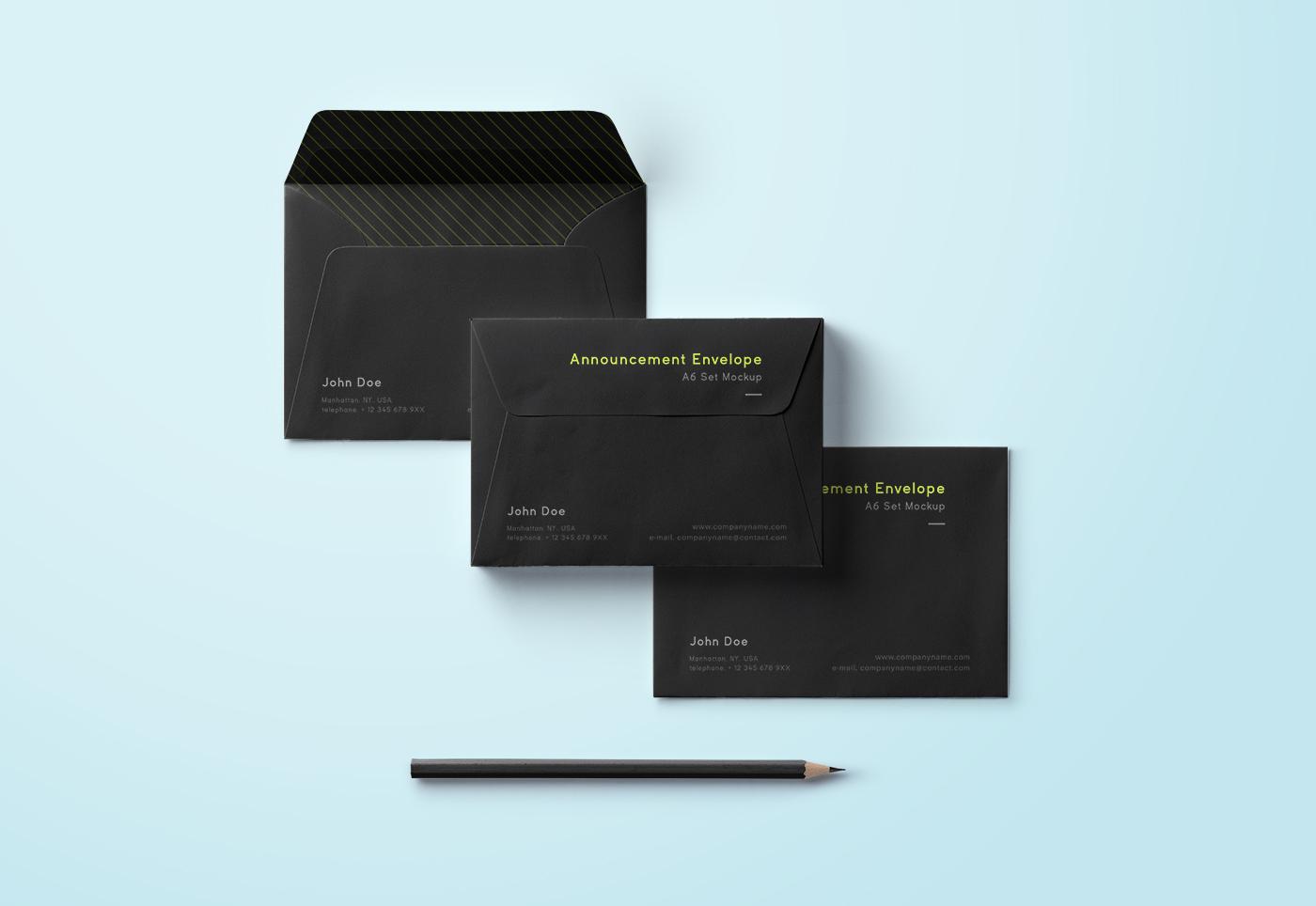 Dark envelope mockup set psd mockup templates for Envelope psd