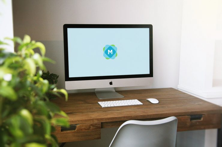 iMac Wooden Desk Mockup Mockup Templates