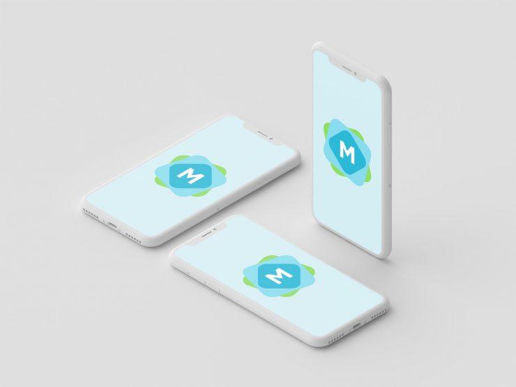 free mockup white iphone x psd