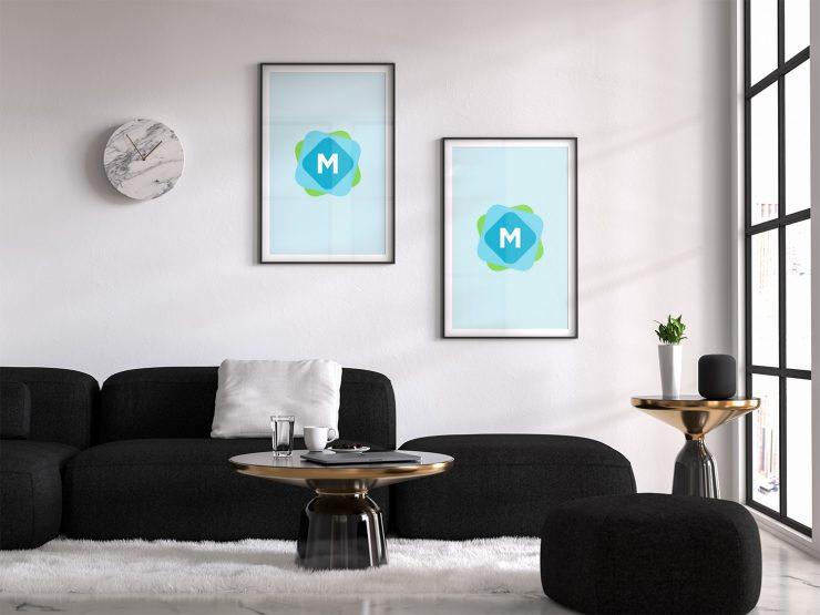 Living Room Poster Mockup Psd Mockup Templates