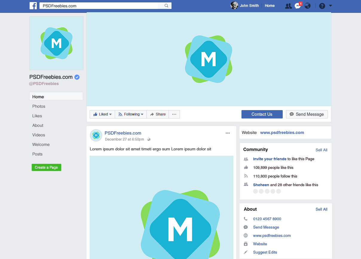Facebook page template 2018